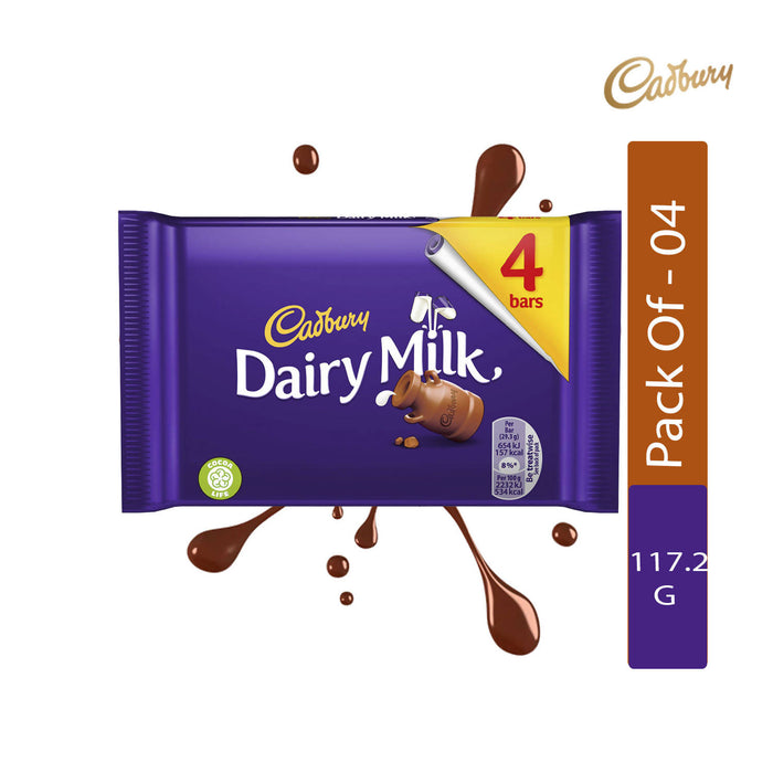 Cadbury Dairy Milk Chocolate Bar, 117.2g - Pack of 4