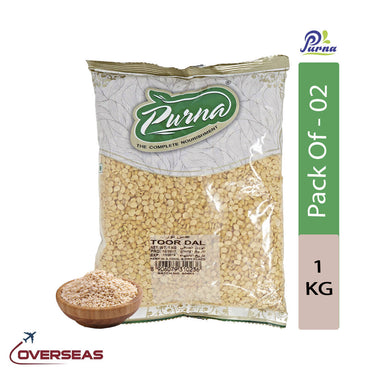 Purna Dry Toor Dal, 1kg - Pack Of 2