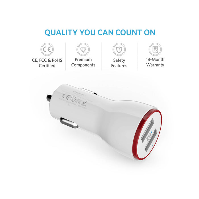 Anker PowerDrive 2 24W 2-Port Car Charger Offline Retail Packaging