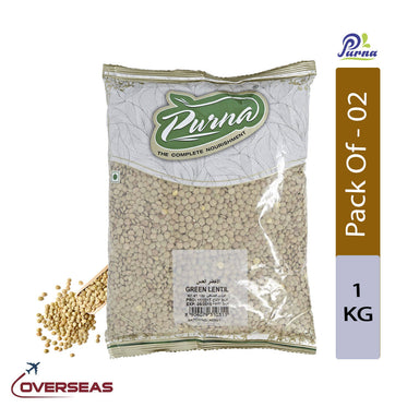 Purna Green Lentils, 1kg - Pack Of 2