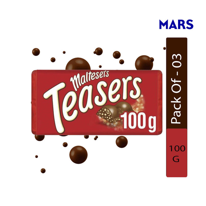 Mars Maltesers Teasers Chocolate Bar, 100g - Pack of 3