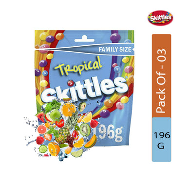 Skittles Tropical Sweets Pouch Bag, 196g- Pack of 3