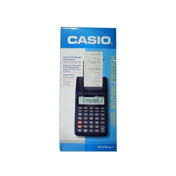 Casio 12-Digit Digital Printing Calculator, HR-8TM-BK