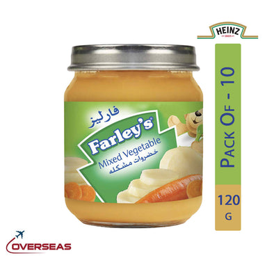 Heinz Farley's Mixed Vegetables Puree Jar, 120g - Pack Of 10