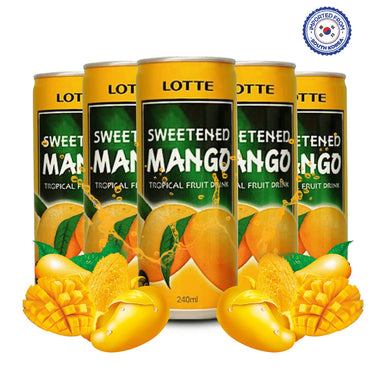 Lotte Sweetened Mango Drink 240ml, Pack of 5