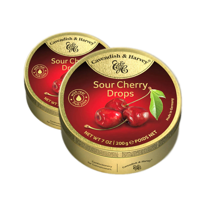 Cavendish & Harvey Sour Cherry Drops Candy, 200g Pack Of 2
