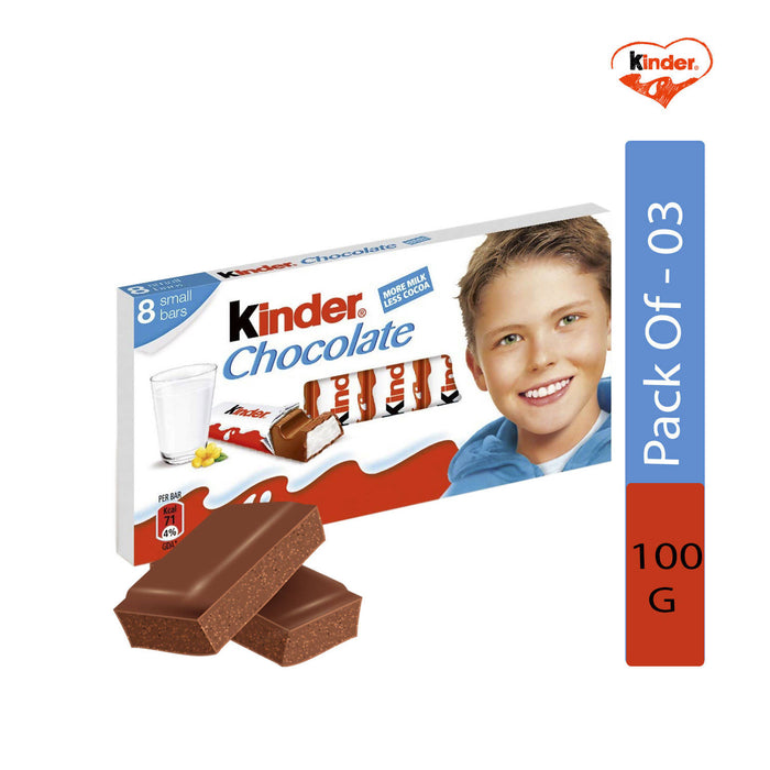 Kinder Chocolate Small Bars, 100g - Pack of 3