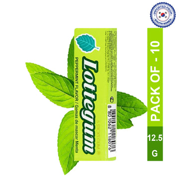 Lotte Gum Peppermint Flavor Stick-12.5gm, Pack of 10