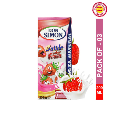 Don Simon Strawberry Flavor UHT Milkshake 200ml, Pack of 3