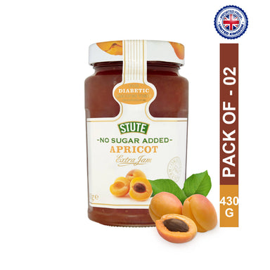 Stute Diabetic Apricot Extra Jam 430g, Pack of 2