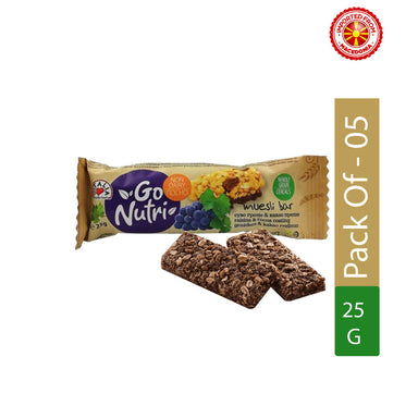 Vitalia Muesli Bar With Raisins And Cocoa Coating Go Nutri, 25g - Pack of 5