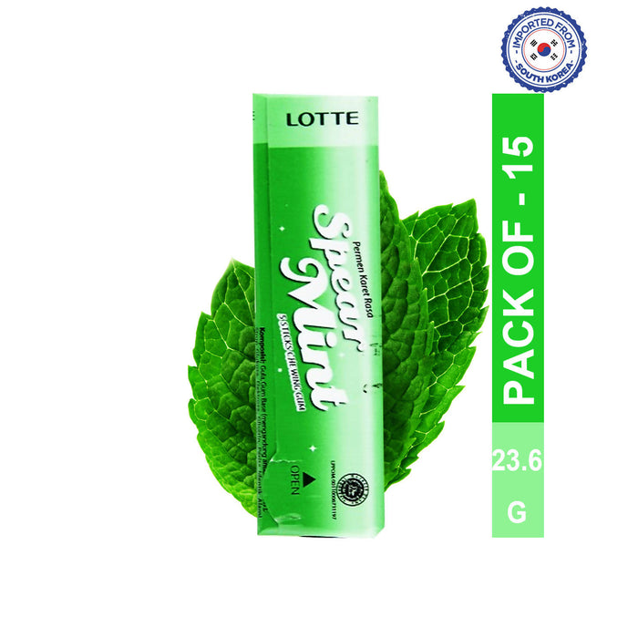 Lotte Spout Spearmint Gum 23.8g, Pack of 10