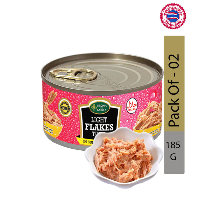 Virginia Green Garden Light Flakes Tuna in sunflower oil 185g, Pack of 2