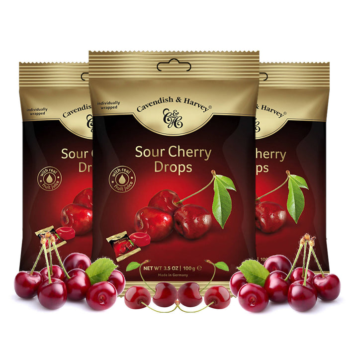 Cavendish & Harvey Sour Cherry Drops Individually Wrapped, 100g Pack Of 3