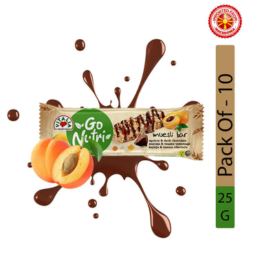 Vitalia Go Nutri Cereal Bar With Apricot And Dark Chocolate - 25g, Pack of 10