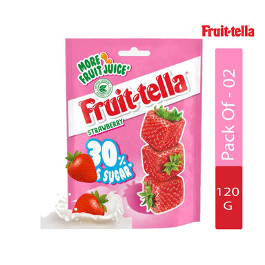 Fruittella Strawberry Sugar Sweets Bag, 120g - Pack of 2