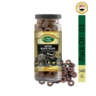 Virginia Green Garden Sliced Black Olives 340g, Pack of 3