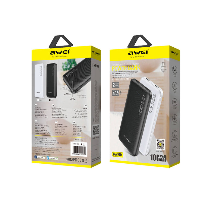 Awei P28K 10000mAh Super-Fast Charging 2 USB Port Power Bank