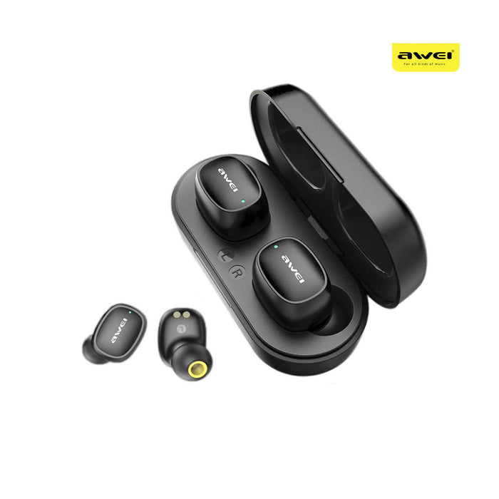 Awei T13 Touch TWS Dual Ear Bluetooth Earbuds With Charging Doc