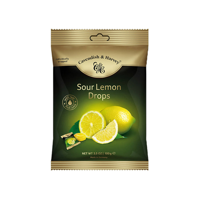 Cavendish & Harvey Sour Lemon Drops Individually Wrapped, 100g Pack Of 3