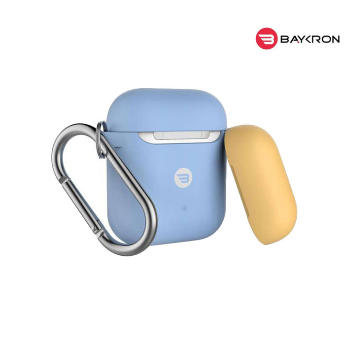 Baykron Airpod Case Slim Silicone With Carabiner Sky Blue Extra Yellow Cap - 20-004951