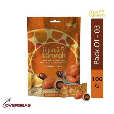 Tamrah Orange Chocolate Zipper Bag, 100g - Pack Of 3