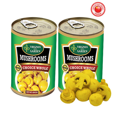 Virginia Green Garden Mushrooms Whole 400g, Pack of 2