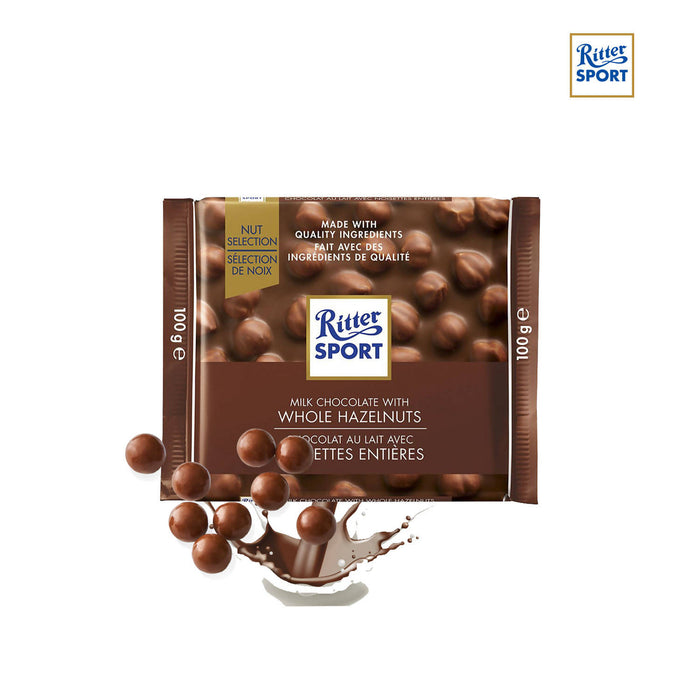 Ritter Sport Milk Chocolate With Whole Hazelnuts, 100g