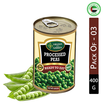 Virginia Green Garden Green Peas (processed) 400g, Pack of 3