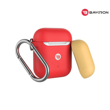 Baykron Airpod Case Slim Silicone With Carabiner Red Extra Yellow Cap - 20-004950