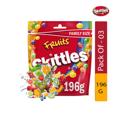 Skittles Fruits Pouch, 196g - Pack of 3
