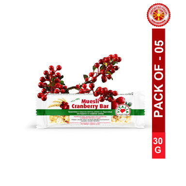 Vitalia Muesli Cranberry Bar 30g, Pack of 5