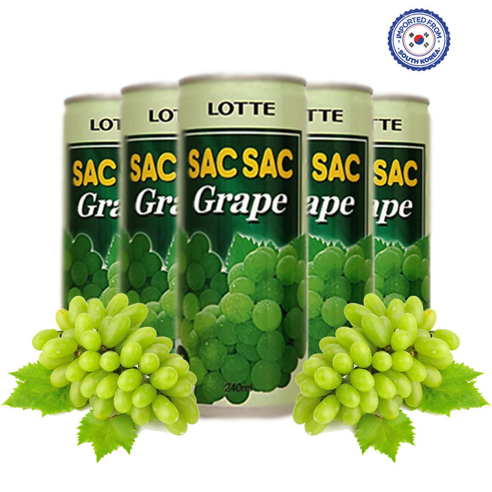 Lotte Sac Sac Grape Drink, 240ml Pack of 5