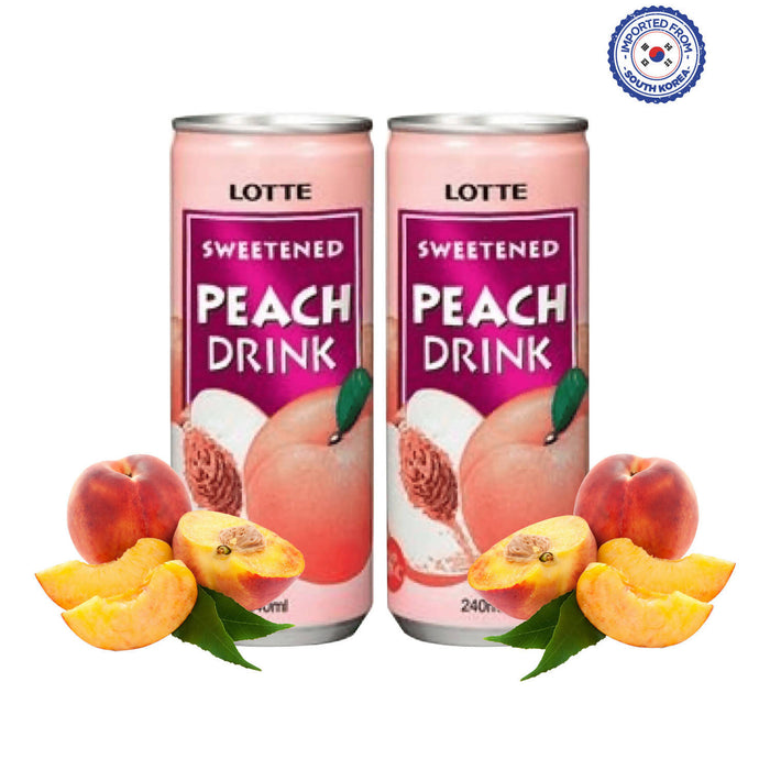 Lotte Sweetened Peach Drink 240ml, Pack of 2