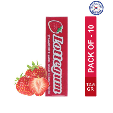 Lotte Gum Strawberry Flavor Stick 12.5gm, Pack of 10