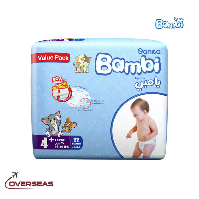 Sanita Bambi Baby Diaper Value Pack 10-18 Kg, Size 4+ Large - 33pcs