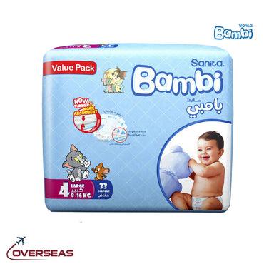 Sanita Bambi Baby Diaper Value Pack 8-16 Kg, Size 4L - 33pcs