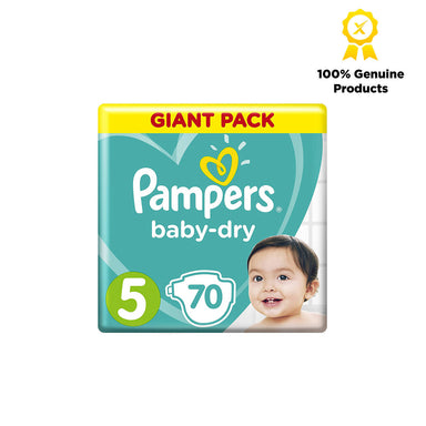 Pampers Baby-Dry Diapers, Size 5, Junior, 11-16 kg, Giant Pack, 70pcs