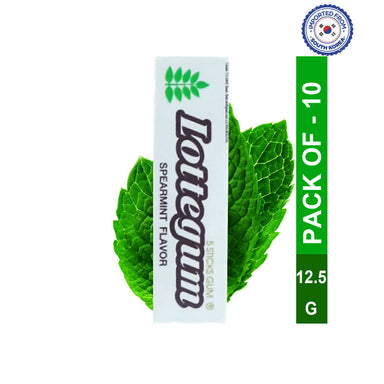Lotte Gum Spearmint Flavor Stick-12.5gm, Pack of 10