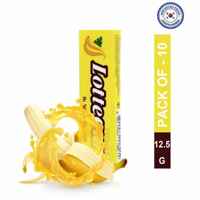 Lotte Gum Banana Flavor Stick 12.5gm, Pack of 10