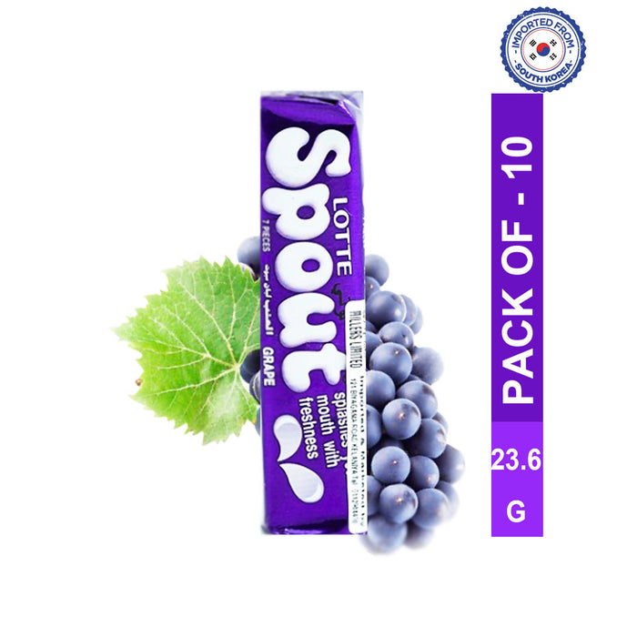 Lotte Spout Grape Gum 23.8g, Pack of 10