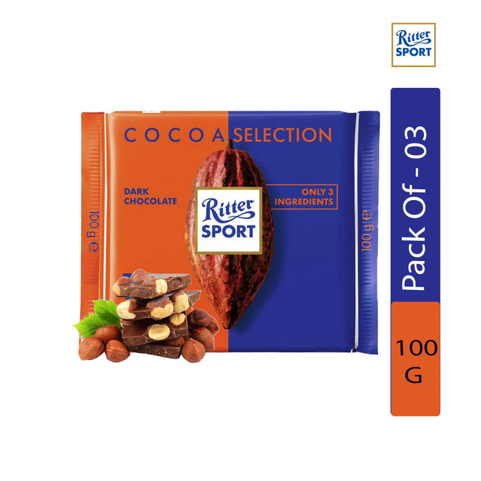 Ritter Sport Cocoa Selection 74% Intense From Peru, 100g - Pack of 3