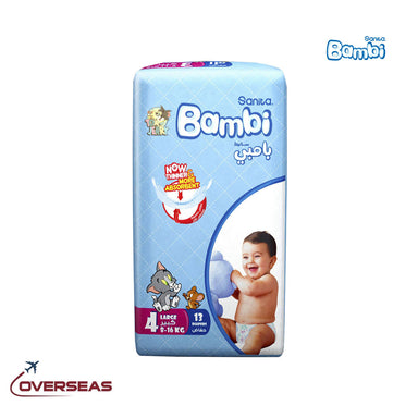 Sanita Bambi Baby Diapers Regular Pack 8-16 Kg, Size 4L - 13pcs