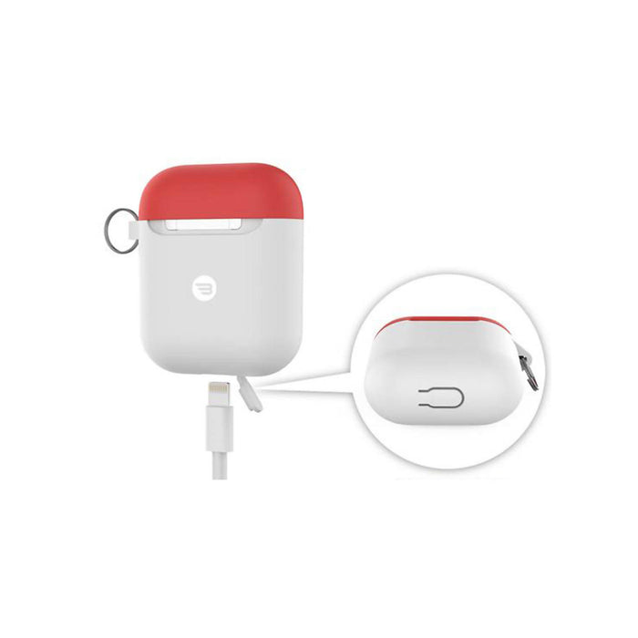 Baykron Airpod Case Slim Silicone With Carabiner White Extra Red Cap - 20-004948