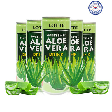 Lotte Sweetened Aloe Vera Drink 240ml, Pack of 5