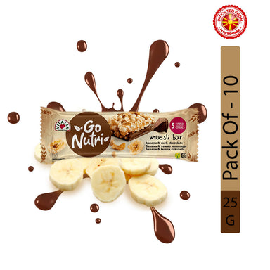 Vitalia Go Nutri Cereal Bar With Banana And Dark Chocolate - 25g, Pack of 10