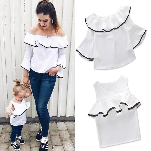 b2b3a528b81963 Mother And Daughter White Shoulder Less Top - Kids Cellarium ...