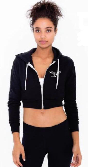 WOMENS CROPPED ZIP HOODIE BLACK