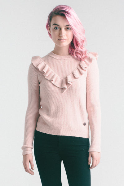CECE FRILL KNIT PINK DUST