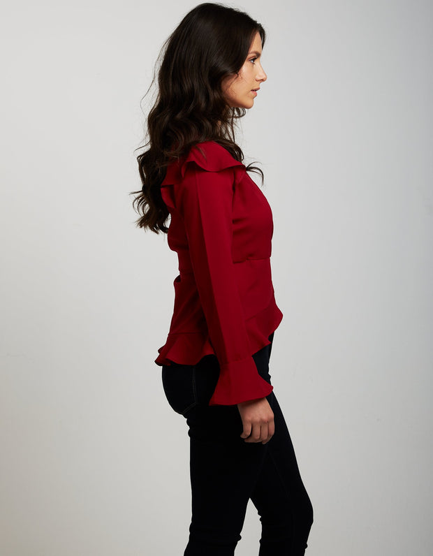 BRITT BLOUSE SCOOTER RED